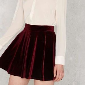 Nasty Gal Serial Skater Velvet skirt size XS